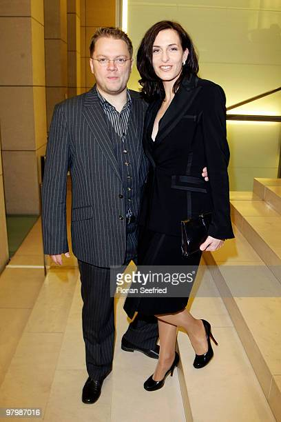 Actress Ulrike Frank and husband Marc Schubring attend the 'Deutscher Hoerfilmpreis 2010' at the atrium of the German Bank on March 23 2010 in Berlin...