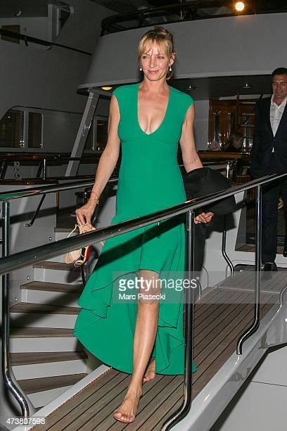 Actress Uma Thurman and Andre Balazs are seen leaving the 'Rio Rita' yacht in the harbour of Cannes during the 68th annual Cannes Film Festival on...