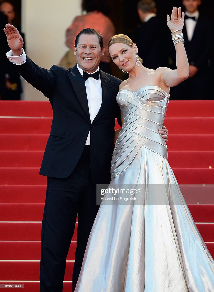 Actress Uma Thurman and Arpad Busson attend the 'Zulu' Premiere and Closing Ceremony during the 66th Annual Cannes Film Festival at the Palais des Festivals on May 26, 2013 in Cannes, France.