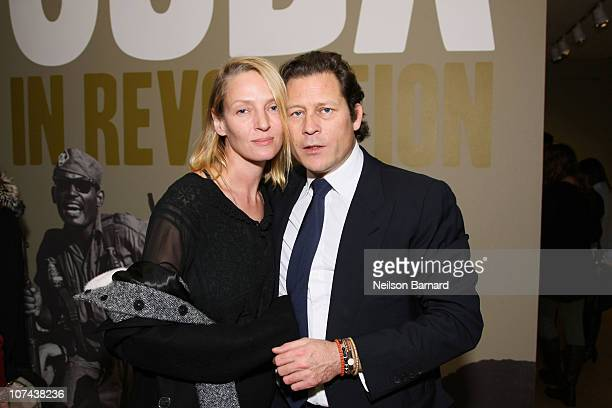 Actress Uma Thurman and chairman of EIM Group and The International Art Heritage Foundation Arpad 'Arki' Busson pose during the afterparty for Arpad...
