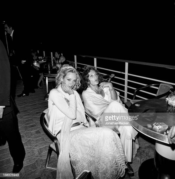 Actress Uma Thurman and designer Diane von Furstenberg are photographed for Vanity Fair Magazine on May 15 2004 at the Vanity Fair Cannes Film...