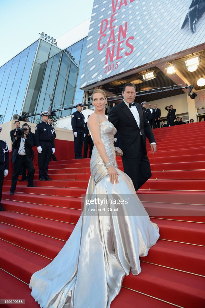 Actress Uma Thurman and Meet Arpad Busson attend the 'Zulu' Premiere and Closing Ceremony during the 66th Annual Cannes Film Festival at the Palais des Festivals on May 26, 2013 in Cannes, France.