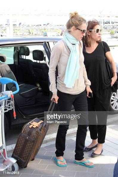 Actress Uma Thurman and stylist Anna Bingemann is sighted at Nice airport on May 23 2011 in Nice France