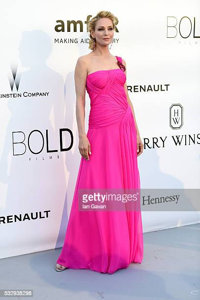 Actress Uma Thurman arrives at amfAR's 23rd Cinema Against AIDS Gala at Hotel du CapEdenRoc on May 19 2016 in Cap d'Antibes France