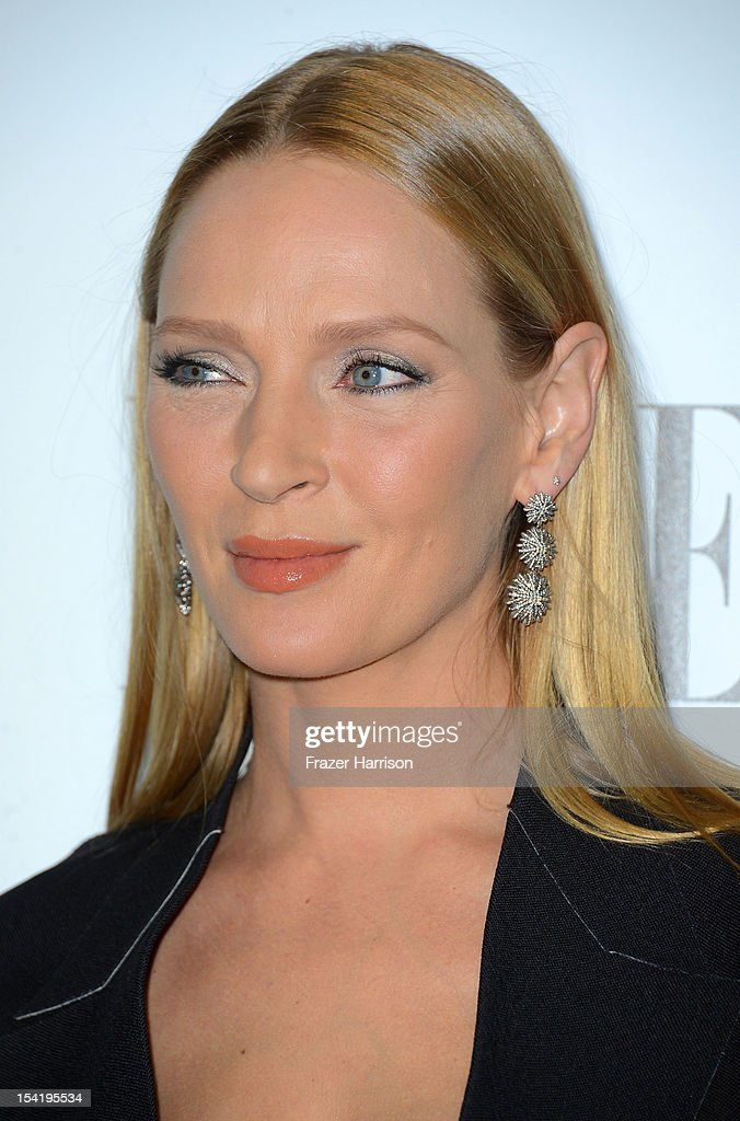 Actress Uma Thurman arrives at ELLE's 19th Annual Women In Hollywood Celebration at the Four Seasons Hotel on October 15 2012 in Beverly Hills...