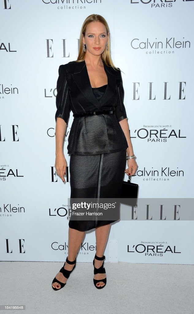 Actress <a gi-track='captionPersonalityLinkClicked' href=/galleries/search?phrase=Uma+Thurman&family=editorial&specificpeople=171973 ng-click='$event.stopPropagation()'>Uma Thurman</a> arrives at ELLE's 19th Annual Women In Hollywood Celebration at the Four Seasons Hotel on October 15, 2012 in Beverly Hills, California.
