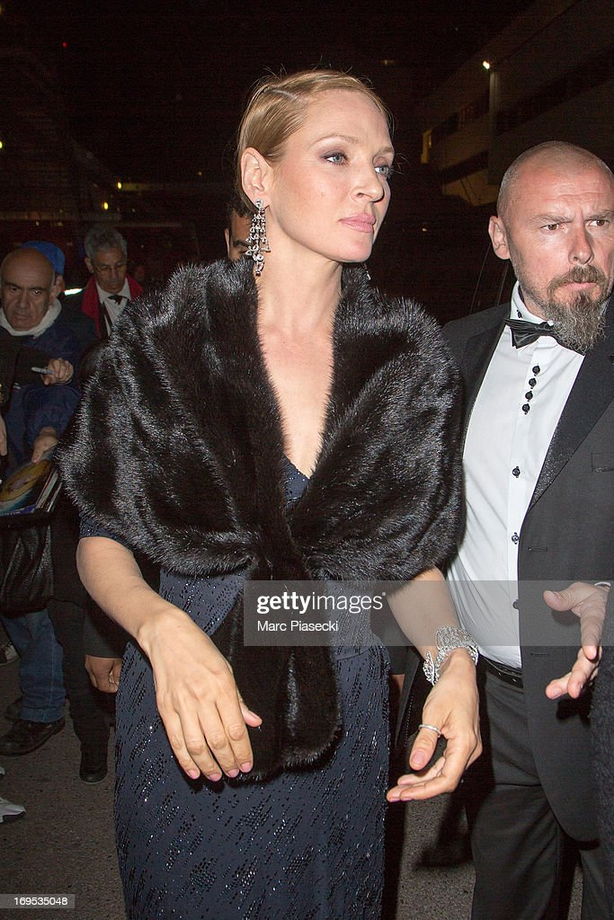 Actress <a gi-track='captionPersonalityLinkClicked' href=/galleries/search?phrase=Uma+Thurman&family=editorial&specificpeople=171973 ng-click='$event.stopPropagation()'>Uma Thurman</a> arrives at the 'Agora' dinner during the 66th Annual Cannes Film Festival on May 26, 2013 in Cannes, France.