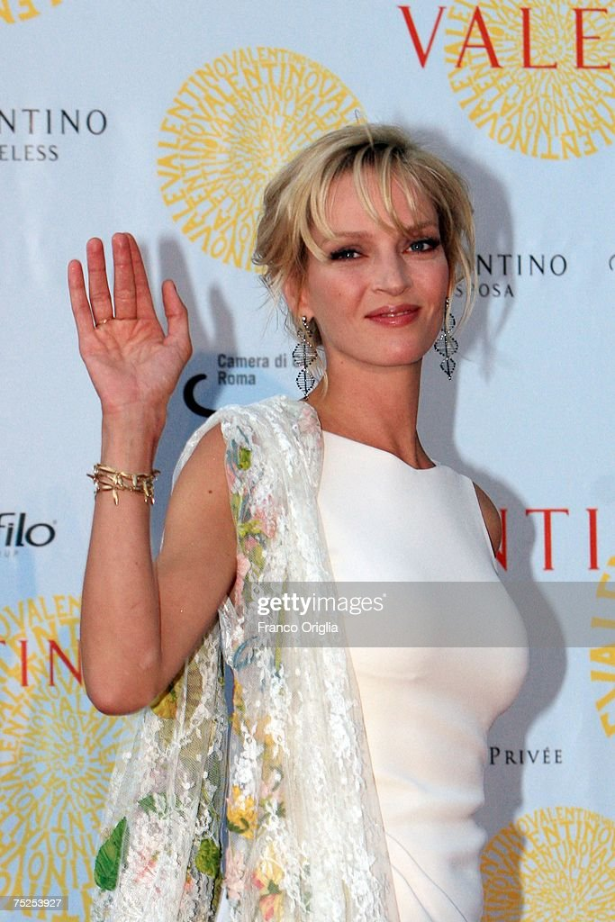 Actress Uma Thurman arrives at the Ara Pacis for Valentino's Exhibition opening on July 6, 2007 in Rome, Italy. Fashion icon Valentino decided to mark the celebration of the 45th anniversary of his luxury brand by breaking a 17 year tradition of unveiling his luxurious haute couture collections for women in Paris with a show in Rome.