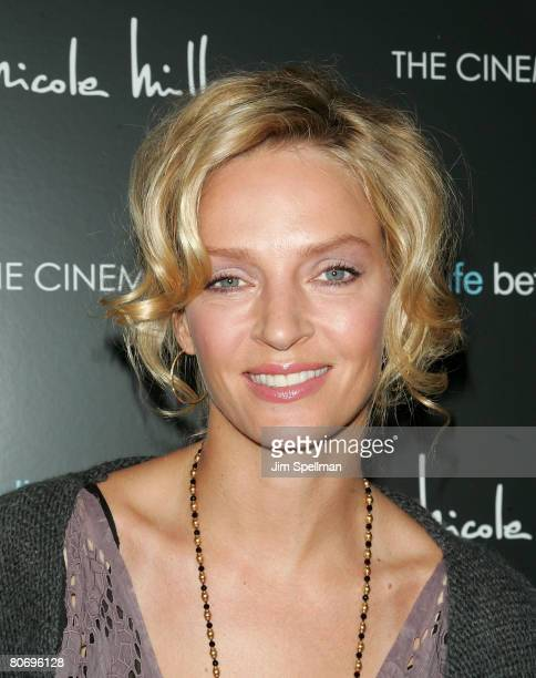 Actress Uma Thurman arrives at 'The Life Before Her Eyes' Screening Hosted by Cinema Society and Nicole Miller at the IFC Center on April 15 2008 in...