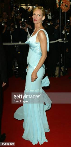 Actress Uma Thurman arrives to the premiere of 'Kill Bill II' at the Palais des Festivals during the 57th Annual International Cannes Film Festival...