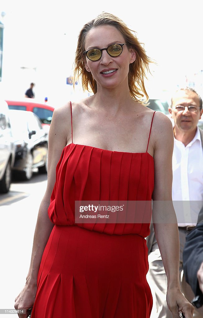 Actress <a gi-track='captionPersonalityLinkClicked' href=/galleries/search?phrase=Uma+Thurman&family=editorial&specificpeople=171973 ng-click='$event.stopPropagation()'>Uma Thurman</a> at the Palais des Festivals during the 64th Annual Cannes Film Festival on May 18, 2011 in Cannes, France.