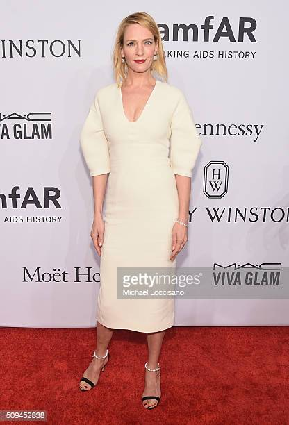 Actress Uma Thurman attends 2016 amfAR New York Gala at Cipriani Wall Street on February 10 2016 in New York City