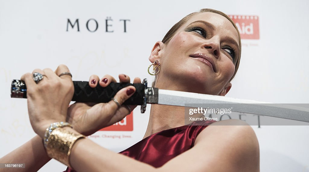 Actress <a gi-track='captionPersonalityLinkClicked' href=/galleries/search?phrase=Uma+Thurman&family=editorial&specificpeople=171973 ng-click='$event.stopPropagation()'>Uma Thurman</a> attends at the Moet & Chandon and FilmAid Asia Power of Film Gala at Clear Water Bay Film Studios on March 16, 2013 in Hong Kong, Hong Kong.