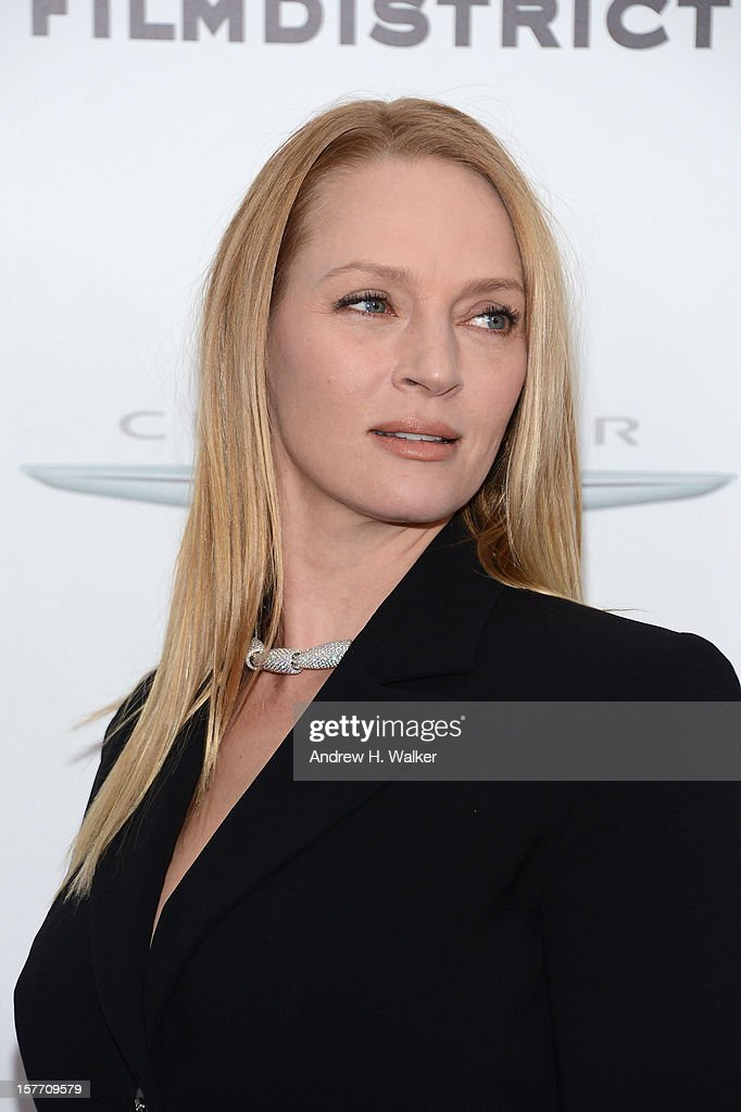 Actress <a gi-track='captionPersonalityLinkClicked' href=/galleries/search?phrase=Uma+Thurman&family=editorial&specificpeople=171973 ng-click='$event.stopPropagation()'>Uma Thurman</a> attends Film District And Chrysler With The Cinema Society Premiere Of 'Playing For Keeps' at AMC Lincoln Square Theater on December 5, 2012 in New York City.