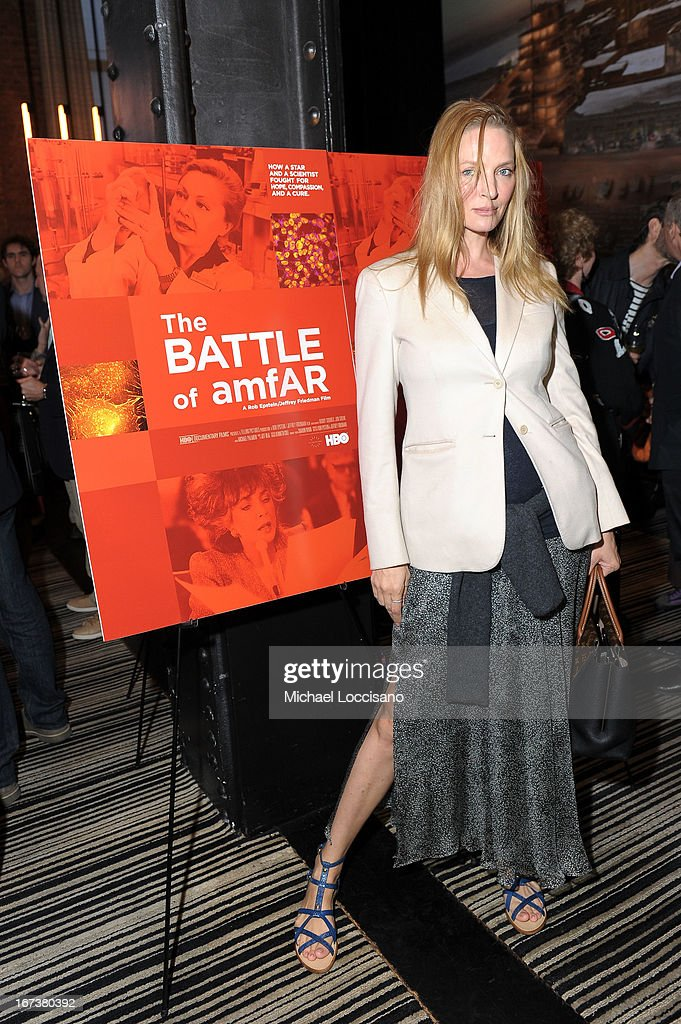 Actress <a gi-track='captionPersonalityLinkClicked' href=/galleries/search?phrase=Uma+Thurman&family=editorial&specificpeople=171973 ng-click='$event.stopPropagation()'>Uma Thurman</a> attends HBO's 'The Battle of amfAR' premiere at Tribeca Film Festival on April 24, 2013 in New York City.