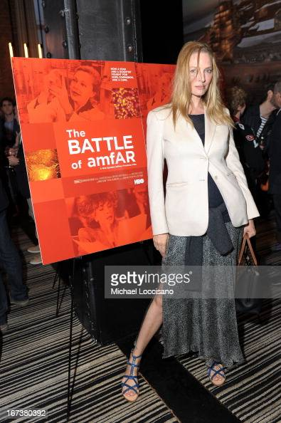 Actress Uma Thurman attends HBO's 'The Battle of amfAR' premiere at Tribeca Film Festival on April 24 2013 in New York City