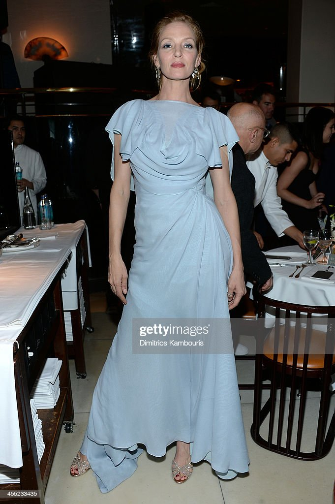 Actress <a gi-track='captionPersonalityLinkClicked' href=/galleries/search?phrase=Uma+Thurman&family=editorial&specificpeople=171973 ng-click='$event.stopPropagation()'>Uma Thurman</a> attends MAC Cosmetic's John Demsey and Zac Posen's dinner to celebrate his Pre- Fall Collection at Mr Chow on December 11, 2013 in New York City.