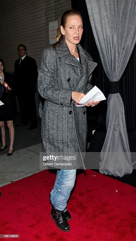 Actress <a gi-track='captionPersonalityLinkClicked' href=/galleries/search?phrase=Uma+Thurman&family=editorial&specificpeople=171973 ng-click='$event.stopPropagation()'>Uma Thurman</a> attends MasterCard Priceless premieres presents Justin Timberlake at Roseland Ballroom on May 5, 2013 in New York City.