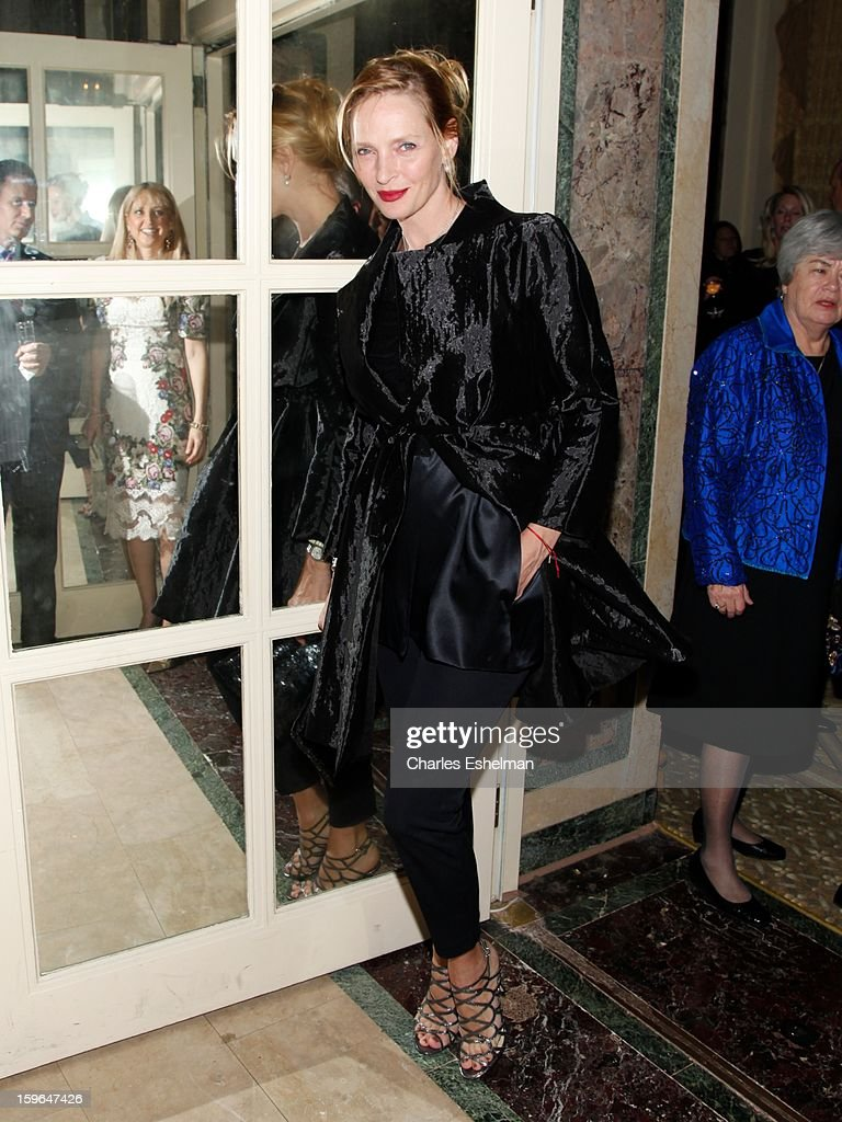 Actress <a gi-track='captionPersonalityLinkClicked' href=/galleries/search?phrase=Uma+Thurman&family=editorial&specificpeople=171973 ng-click='$event.stopPropagation()'>Uma Thurman</a> attends the 2013 National Audubon Society Gala dinner on January 17, 2013 at The Plaza Hotel in New York, City.
