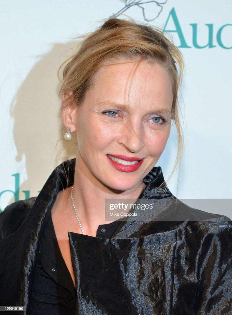 Actress <a gi-track='captionPersonalityLinkClicked' href=/galleries/search?phrase=Uma+Thurman&family=editorial&specificpeople=171973 ng-click='$event.stopPropagation()'>Uma Thurman</a> attends the 2013 National Audubon Society Gala Dinner on January 17, 2013 in New York, United States.
