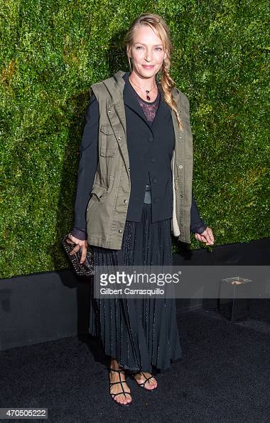 Actress Uma Thurman attends the 2015 Tribeca Film Festival Chanel artists dinner at Balthazar on April 20 2015 in New York City