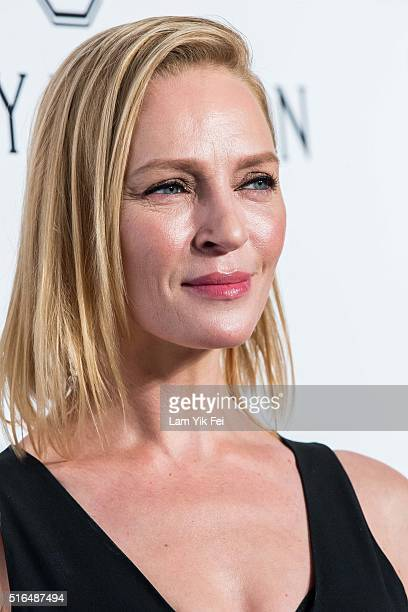 Actress Uma Thurman attends the 2016 amfAR Hong Kong gala at Shaw Studios on March 19 2016 in Hong Kong Hong Kong