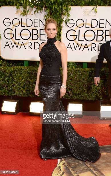 Actress Uma Thurman attends the 71st Annual Golden Globe Awards held at The Beverly Hilton Hotel on January 12 2014 in Beverly Hills California