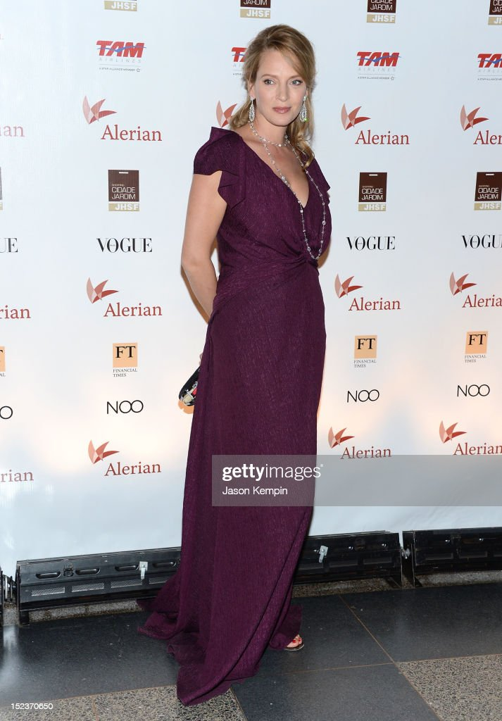 Actress <a gi-track='captionPersonalityLinkClicked' href=/galleries/search?phrase=Uma+Thurman&family=editorial&specificpeople=171973 ng-click='$event.stopPropagation()'>Uma Thurman</a> attends the Annual Brazil Foundation Gala Party at the American Museum of Natural History on September 19, 2012 in New York City.