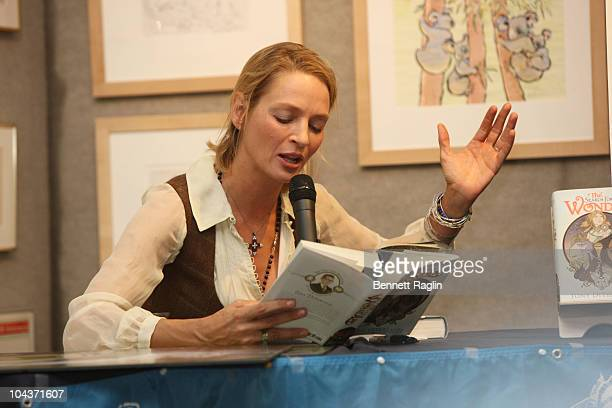 Actress Uma Thurman attends the book launch of 'The Search for Wondla' at Books of Wonder on September 22 2010 in New York City