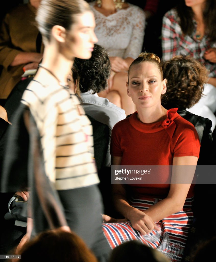 Actress <a gi-track='captionPersonalityLinkClicked' href=/galleries/search?phrase=Uma+Thurman&family=editorial&specificpeople=171973 ng-click='$event.stopPropagation()'>Uma Thurman</a> attends the Carolina Herrera fashion show during Mercedes-Benz Fashion Week Spring 2014 at The Theatre at Lincoln Center on September 9, 2013 in New York City.