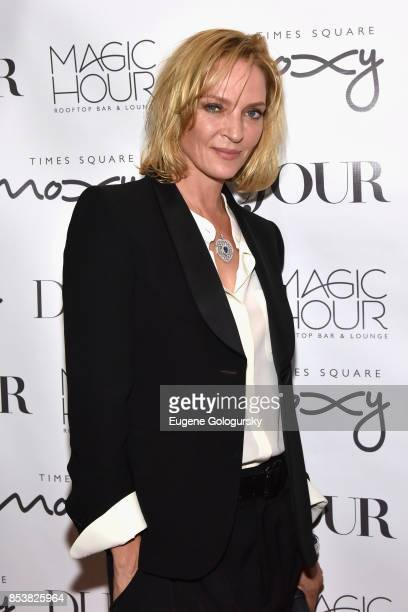 Actress Uma Thurman attends the celebration of DuJour's fall cover star Uma Thurman at The Magic Hour at Moxy Times Square on September 25 2017 in...