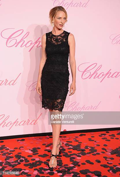 Actress Uma Thurman attends the Chopard 'Happy Diamonds Are A Girl's Best Friend' Party during the 64th Annual Cannes Film Festival at the Martinez...