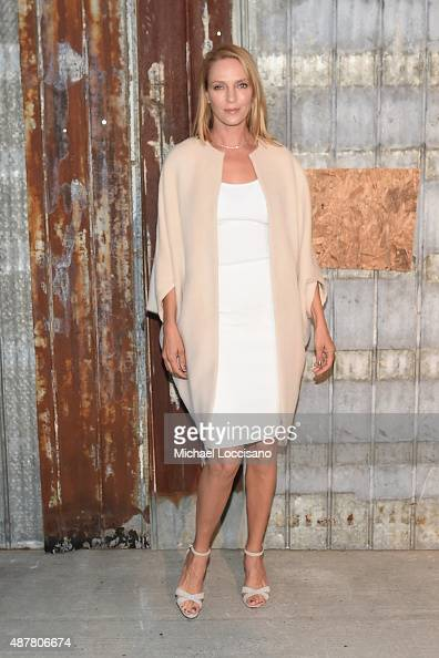 Actress Uma Thurman attends the Givenchy fashion show during Spring 2016 New York Fashion Week at Pier 26 at Hudson River Park on September 11 2015...