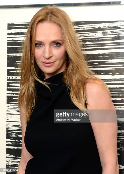 Actress Uma Thurman attends the HRC Marriage for Equality USA celebration at the Calvin Klein Boutique on April 17 2013 in New York City