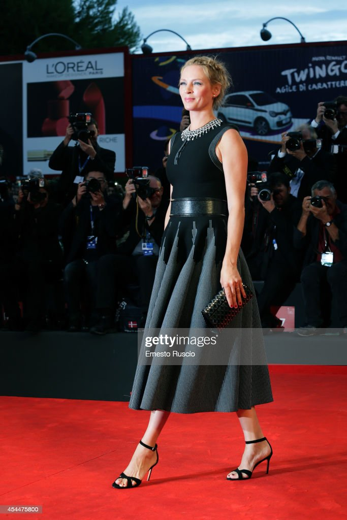 Actress <a gi-track='captionPersonalityLinkClicked' href=/galleries/search?phrase=Uma+Thurman&family=editorial&specificpeople=171973 ng-click='$event.stopPropagation()'>Uma Thurman</a> attends the 'Nymphomaniac: Volume 2 - Directors Cut' premiere during the 71st Venice Film Festival on September 1, 2014 in Venice, Italy.