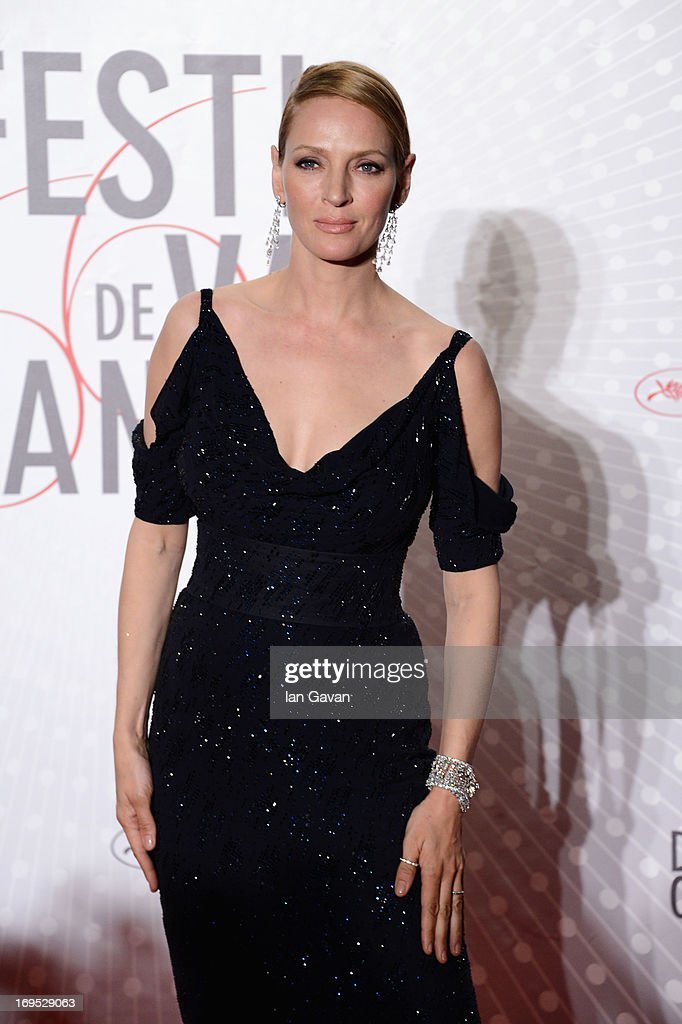 Actress <a gi-track='captionPersonalityLinkClicked' href=/galleries/search?phrase=Uma+Thurman&family=editorial&specificpeople=171973 ng-click='$event.stopPropagation()'>Uma Thurman</a> attends the Palme D'Or Winners dinner during The 66th Annual Cannes Film Festival at Agora on May 26, 2013 in Cannes, France.