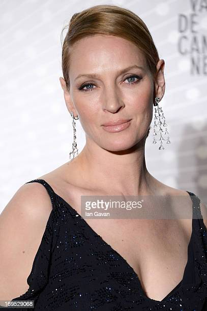 Actress Uma Thurman attends the Palme D'Or Winners dinner during The 66th Annual Cannes Film Festival at Agora on May 26 2013 in Cannes France