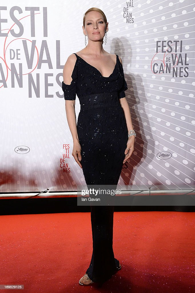 Actress Uma Thurman attends the Palme D'Or Winners dinner during The 66th Annual Cannes Film Festival at Agora on May 26, 2013 in Cannes, France.