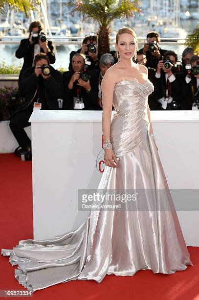 Actress Uma Thurman attends the Palme D'Or Winners Photocall during the 66th Annual Cannes Film Festival at Palais des Festivals on May 26 2013 in...
