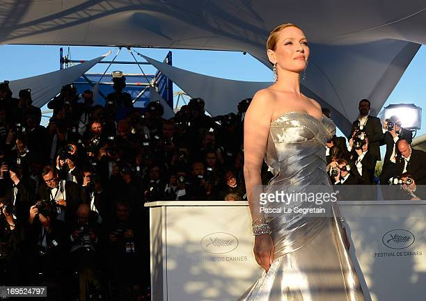 Actress Uma Thurman attends the Palme D'Or Winners Photocall during the 66th Annual Cannes Film Festival at the Palais des Festivals on May 26 2013...