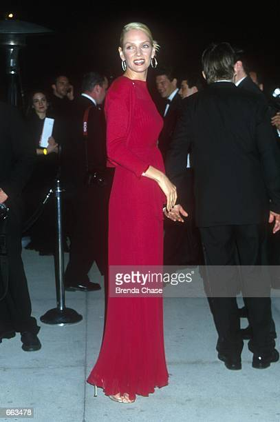 Actress Uma Thurman attends the Vanity Fair PostOscar Party March 26 2000 in West Hollywood CA Thurman's exboyfriend multimillionare Steve Bing was...