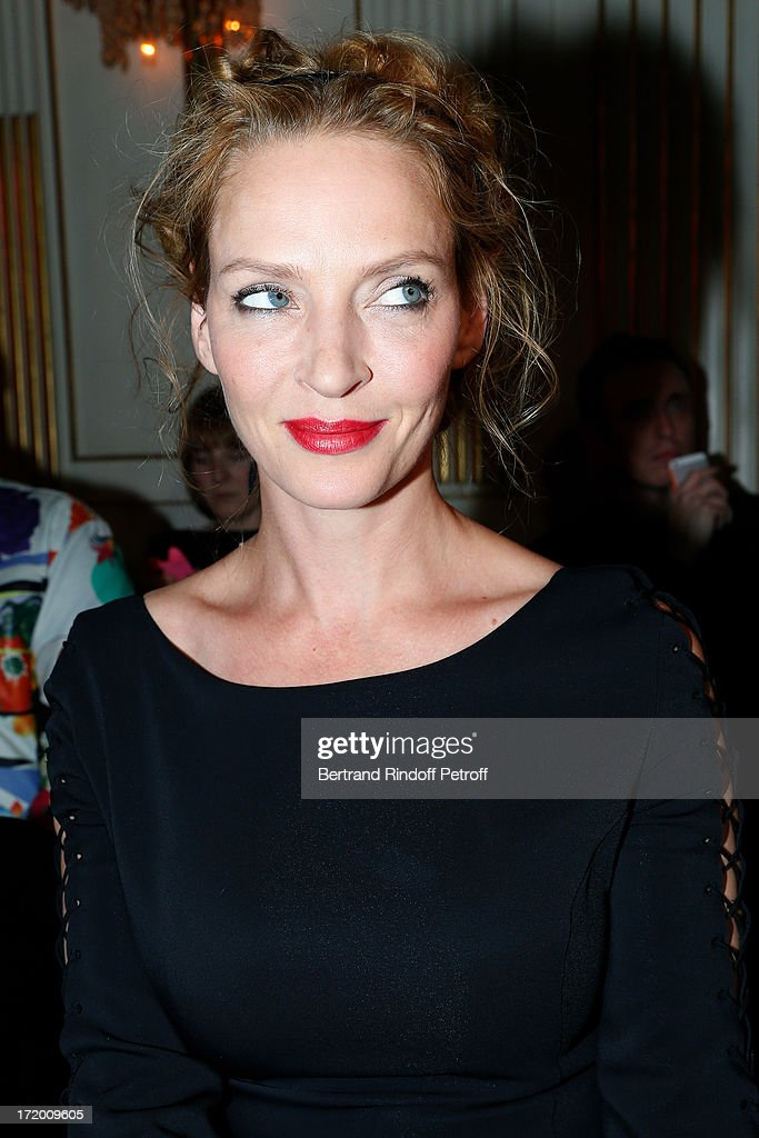 Actress <a gi-track='captionPersonalityLinkClicked' href=/galleries/search?phrase=Uma+Thurman&family=editorial&specificpeople=171973 ng-click='$event.stopPropagation()'>Uma Thurman</a> attends the Versace show as part of Paris Fashion Week Haute-Couture Fall/Winter 2013-2014 at on June 30, 2013 in Paris, France.