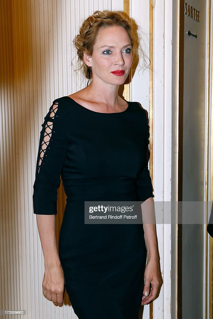 Actress Uma Thurman attends the Versace show as part of Paris Fashion Week Haute-Couture Fall/Winter 2013-2014 at on June 30, 2013 in Paris, France.