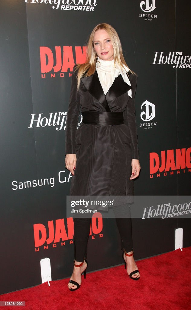 Actress Uma Thurman attends The Weinstein Company with The Hollywood Reporter, Samsung Galaxy & The Cinema Society screening of 'Django Unchained' at the Ziegfeld Theatre on December 11, 2012 in New York City.