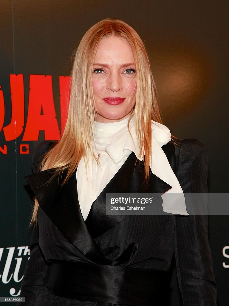 Actress Uma Thurman attends The Weinstein Company With The Hollywood Reporter, Samsung Galaxy And The Cinema Society Host A Screening Of 'Django Unchained' at Ziegfeld Theater on December 11, 2012 in New York City.