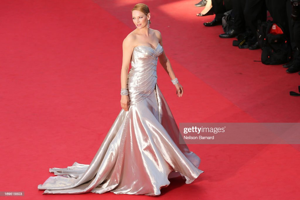 Actress <a gi-track='captionPersonalityLinkClicked' href=/galleries/search?phrase=Uma+Thurman&family=editorial&specificpeople=171973 ng-click='$event.stopPropagation()'>Uma Thurman</a> attends the 'Zulu' Premiere and Closing Ceremony during the 66th Annual Cannes Film Festival at the Palais des Festivals on May 26, 2013 in Cannes, France.