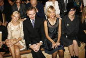 Actress Uma Thurman Bernard Arnault CEO and President of Dior's parent group LVMH his wife pianist Helene Mercier Arnault and actress Sharon Stone...