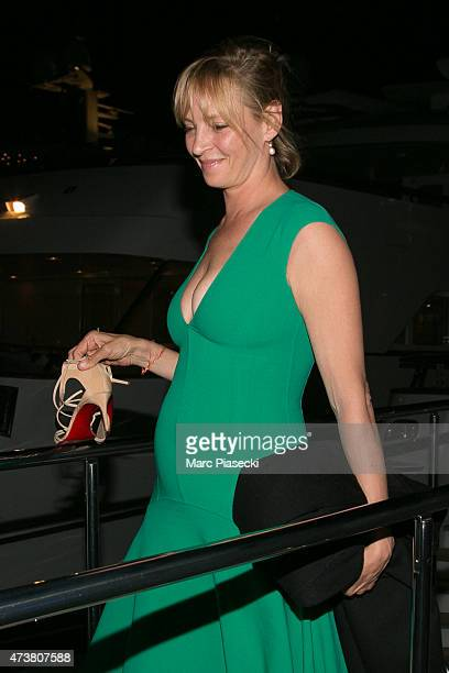 Actress Uma Thurman is seen leaving the 'Rio Rita' yacht in the harbour of Cannes during the 68th annual Cannes Film Festival on May 17 2015 in...