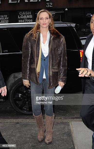 Actress Uma Thurman is seen outside 'The Today Show' on February 11 2015 in New York City