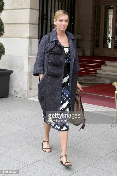 Actress Uma Thurman is sighted at the Ritz Hotel on October 5 2011 in Paris France